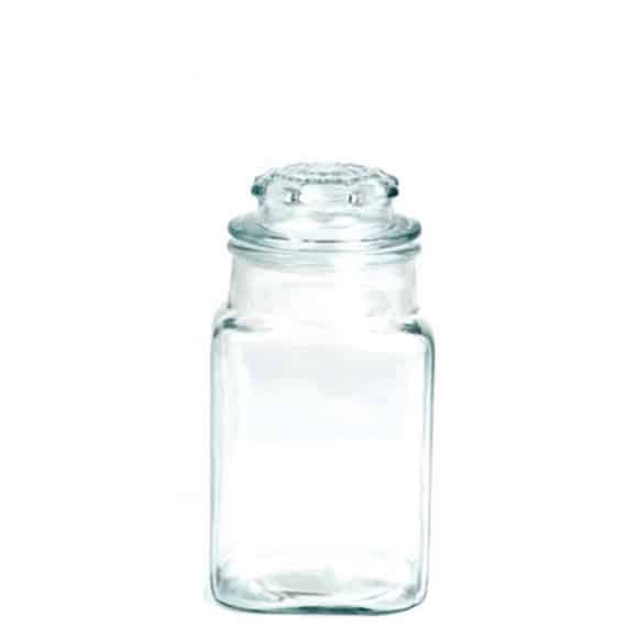 Jarre en verre Carré + Couvercle