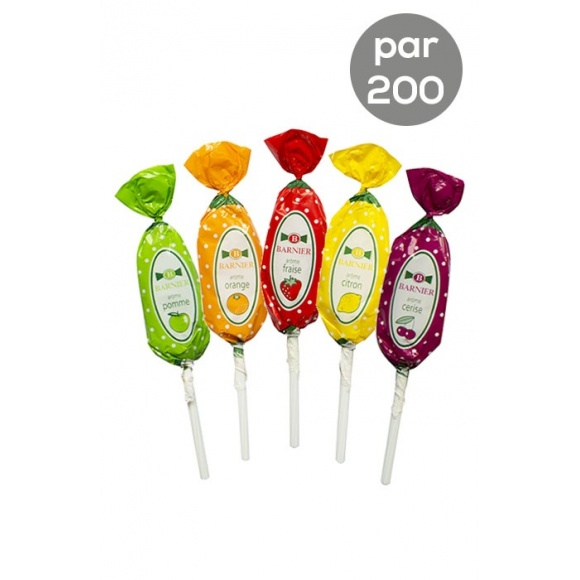 Assortiment Sucettes Fruits 5 parfums 200 x 15g