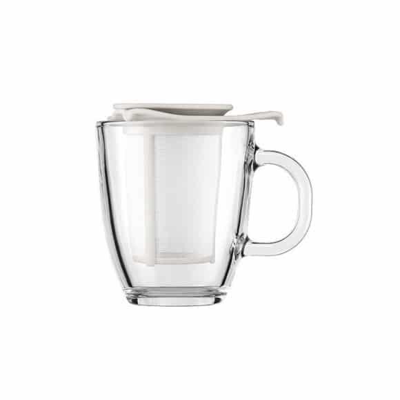Yo-Yo Mug en verre 12oz-350ml + Infuseur a thé Blanc