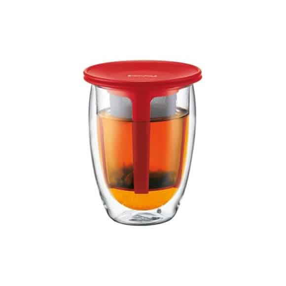 Tea For One Verre 12oz-350ml + Infuseur à thé Rouge
