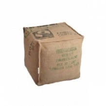 Pouf cube en toile de jute 100% recyclée