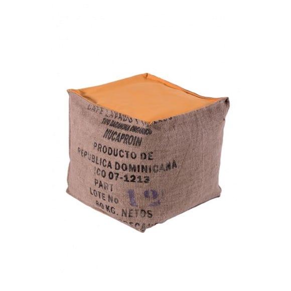 Pouf cube orange en toile de jute 100% recyclée