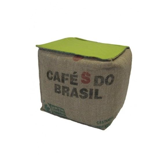 Pouf cube vert en toile de jute 100% recyclée