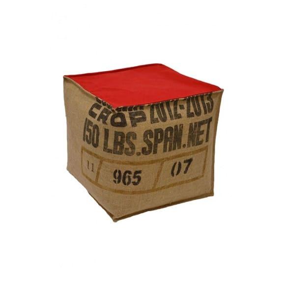 Pouf cube rouge en toile de jute 100% recyclée