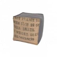 Pouf cube gris en toile de jute 100% recyclée