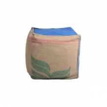 Pouf cube bleu en toile de jute 100% recyclée