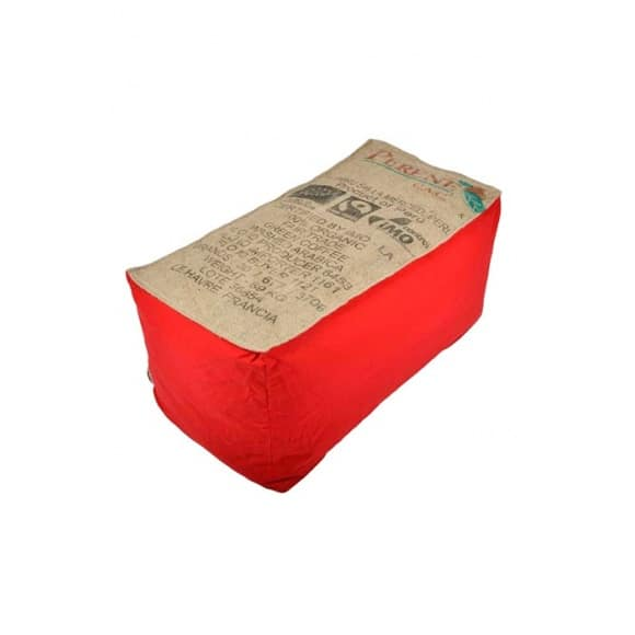 Banquette pouf en toile de jute rouge 100% recyclée