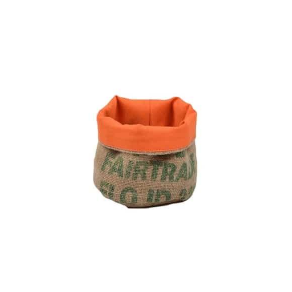 Corbeille orange en toile de jute 100% recyclée taille S