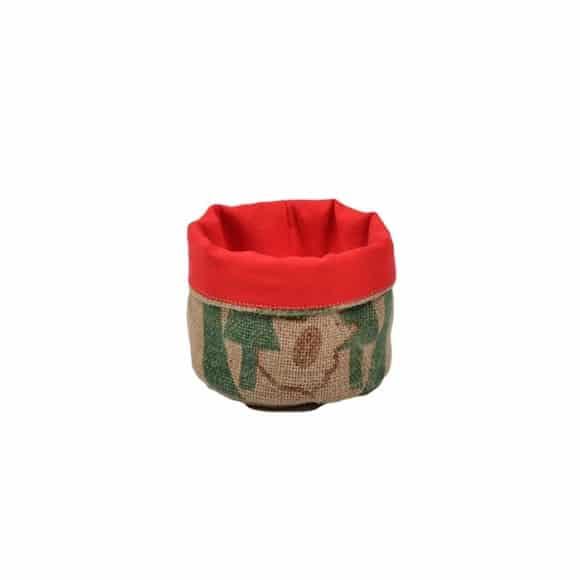 Corbeille rouge en toile de jute 100% recyclée taille S