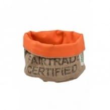 Corbeille orange en toile de jute 100% recyclée taille M