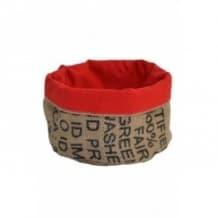 Corbeille rouge en toile de jute 100% recyclée taille M