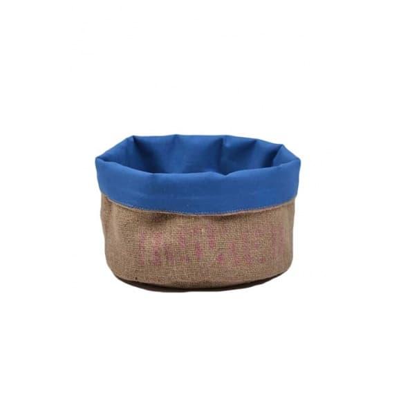 Corbeille bleue en toile de jute 100% recyclée taille M