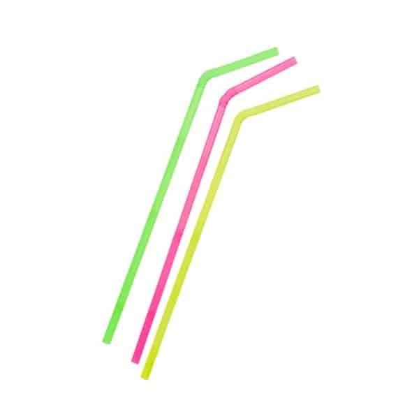 Sachet x 250 pailles flexibles Fluo D.8mm