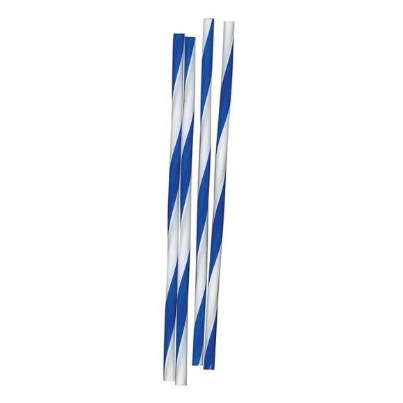 Sachet x 500 Pailles striées Blanches et Bleues D.6mm