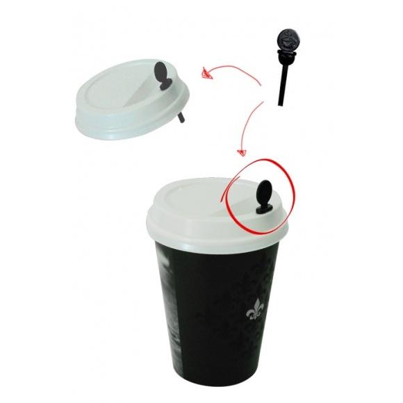 Sachet x 200 agitateurs 2 en 1 Plastique Noir L.52mm