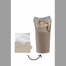 CLASP CLIP étuis kraft avec film pour Wrap Tortilla Simple x 500