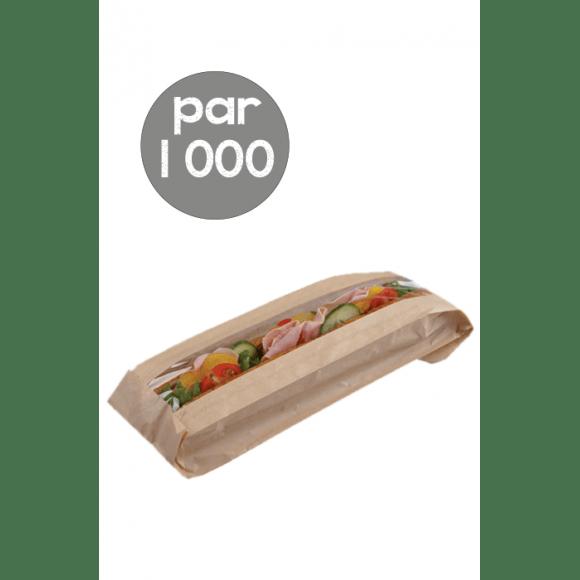 Sachet x 1000 sac kraft avec fenêtre pour Sandwich Baguette