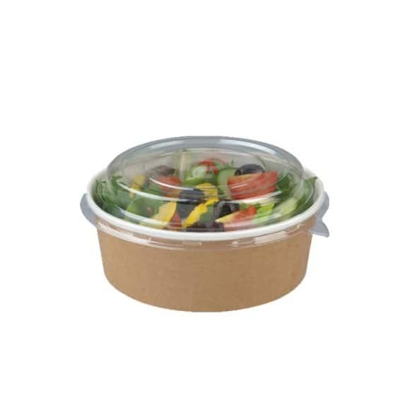 Pots à salade kraft avec couvercle PET 18oz/550ml x 250