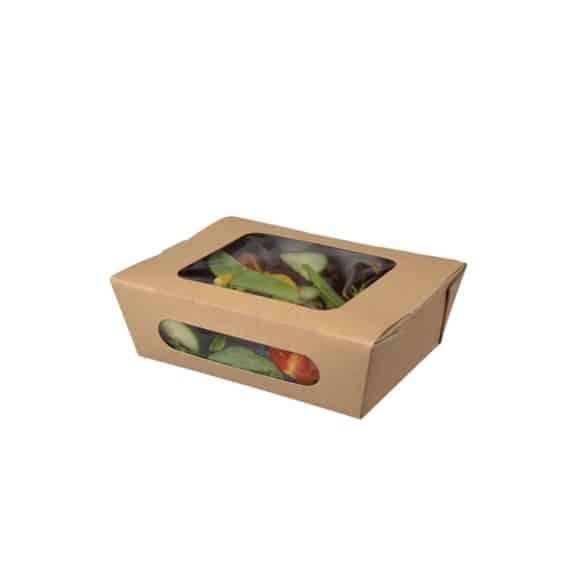 Sachet x 100 TUCK TOP boîtes à salade kraft avec fenêtre 34oz/1L