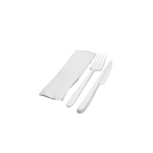 KIT Couvert 3 en 1 : Fourchette/Couteau/Serviette x 250