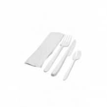 KIT Couvert 4 en 1 : Fourchette/Couteau/Cuillère/Serviette x 250