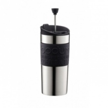 TRAVEL PRESS Mug Inox à piston Noir 12oz/350ml