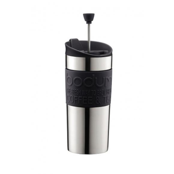 TRAVEL PRESS Mug Inox à piston Noir 12oz/350ml
