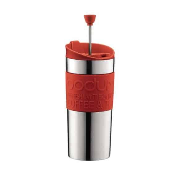 TRAVEL PRESS Mug Inox à piston Rouge 12oz/350ml