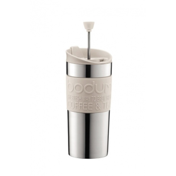 TRAVEL PRESS Mug Inox à piston Blanc 12oz/350ml