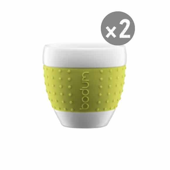 SET x 2 PAVINA Tasse porcelaine manchon Vert 2,5oz/80ml