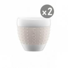 SET x 2 PAVINA Tasse porcelaine manchon Blanc 2,5oz/80ml