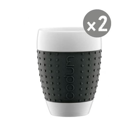 SET x 2 PAVINA Tasse porcelaine manchon Noir 13,5oz/400ml