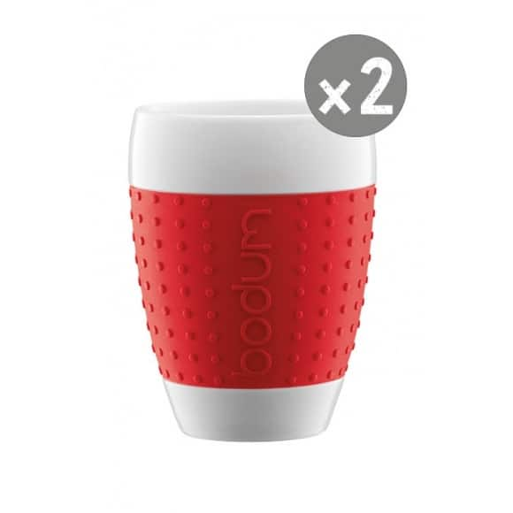 SET x 2 PAVINA Tasse porcelaine manchon Rouge 13,5oz/400ml