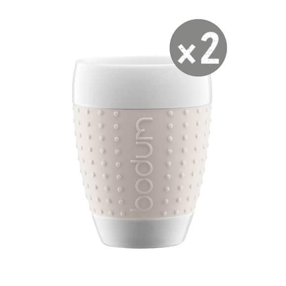 SET x 2 PAVINA Tasse porcelaine manchon Blanc 13,5oz/400ml