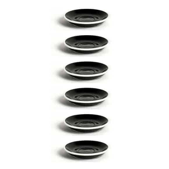 Set x 6 DEMI TASSE soucoupe porcelaine Noir D.115mm
