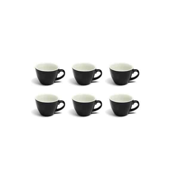 Set x 6 FLAT WHITE tasse porcelaine Noir 150ml