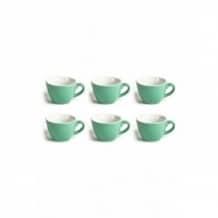 Set x 6 FLAT WHITE tasse porcelaine Vert 150ml