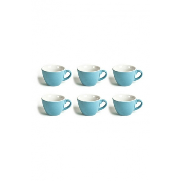 Set x 6 FLAT WHITE tasse porcelaine Bleu 150ml