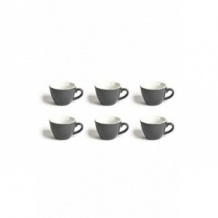 Set x 6 FLAT WHITE tasse porcelaine Gris 150ml