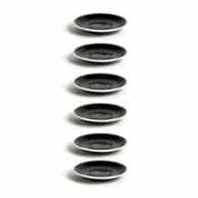 Set x 6 FLAT WHITE soucoupe porcelaine Noir D.145mm