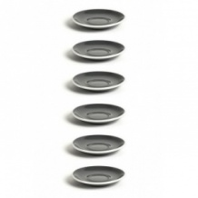 Set x 6 FLAT WHITE soucoupe porcelaine Gris D.145mm