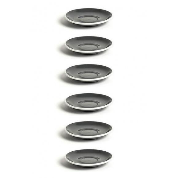 Set x 6 FLAT WHITE soucoupe porcelaine Gris D.145mm