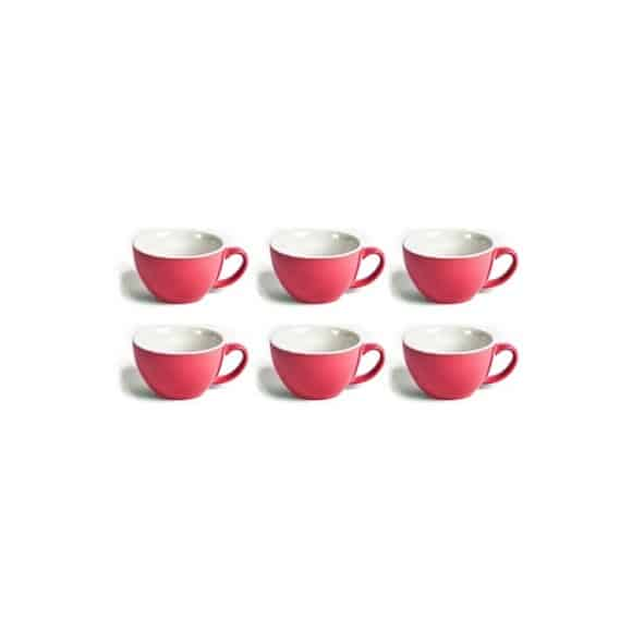 Set x 6 LATTE CUP tasse porcelaine Rouge 280ml