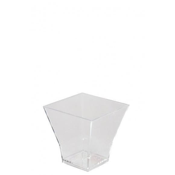 Sachet x 30 verrines Carré plastique cristal 60ml