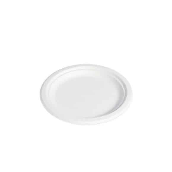 Sachet x 25 assiettes plate pulpe de canne D.220mm