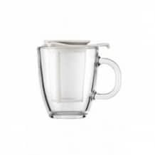 Lot de 6 Yo-Yo Mug en verre 12oz-350ml + Infuseur a thé Blanc