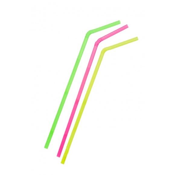 Lot de 30 x 250 pailles flexibles Fluo D.8mm
