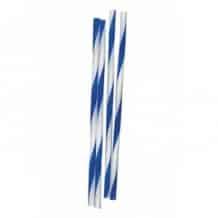 Lot de 20 x 500 Pailles striées Blanches et Bleues D.6mm