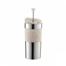 Lot de 6 TRAVEL PRESS Mug Inox à piston Blanc 12oz/350ml