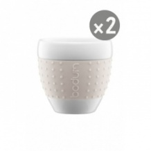 Lot de 6 SET x 2 PAVINA Tasse porcelaine manchon Blanc 2,5oz/80ml